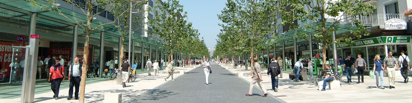 A pedestrian zone with passersby.