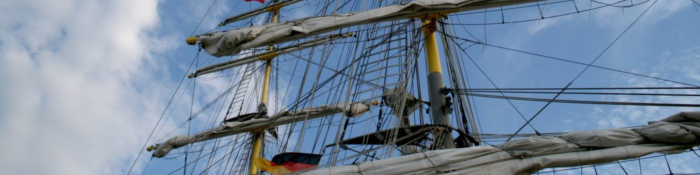 Masts and sails of a ship.