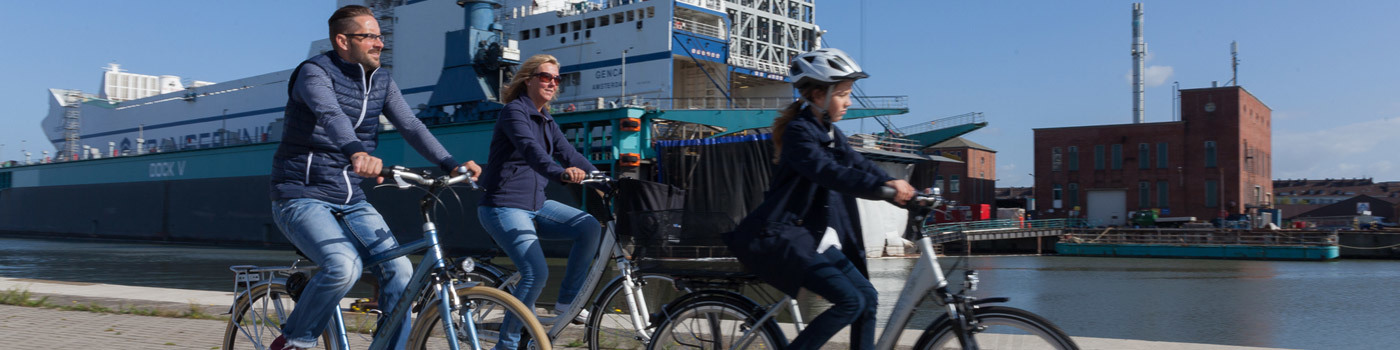 Family cycling past large ships.