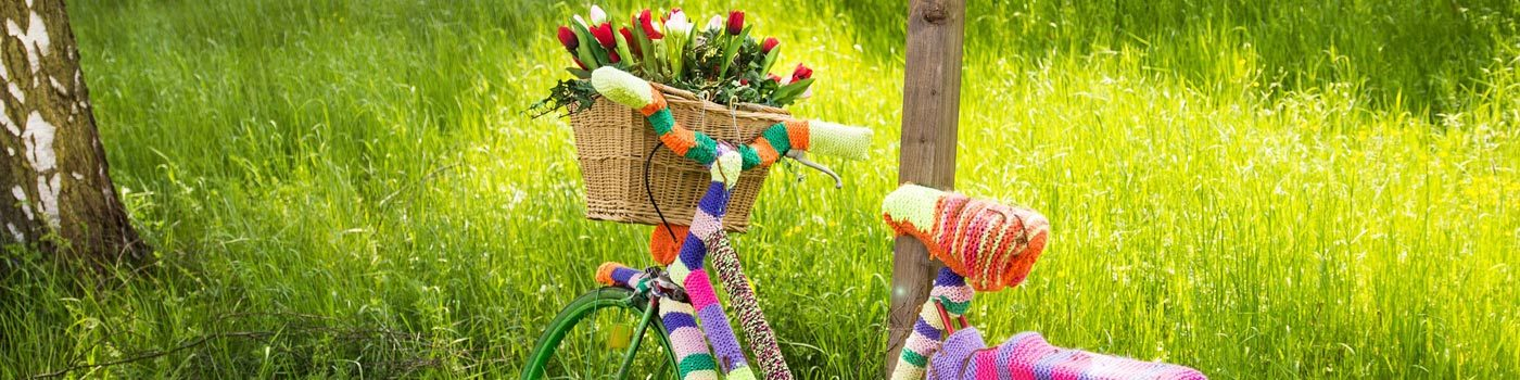 A colorful bicycle with a flower basket leaning against a tree.