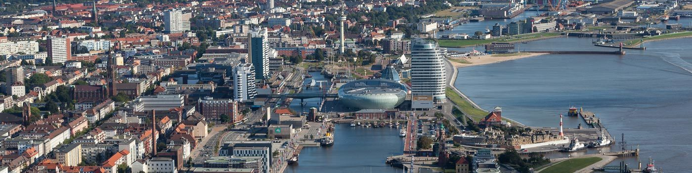 Aerial view of the harbor city Bremerhaven