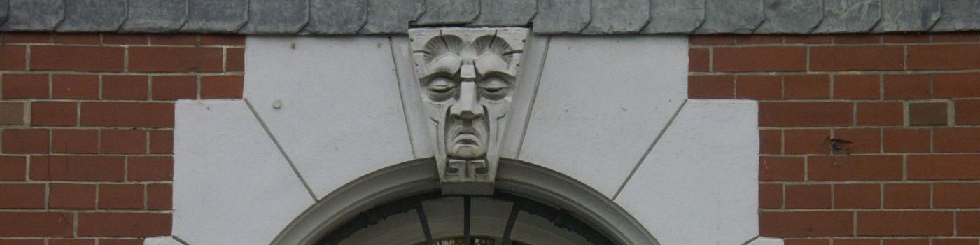 A head carved in stone.