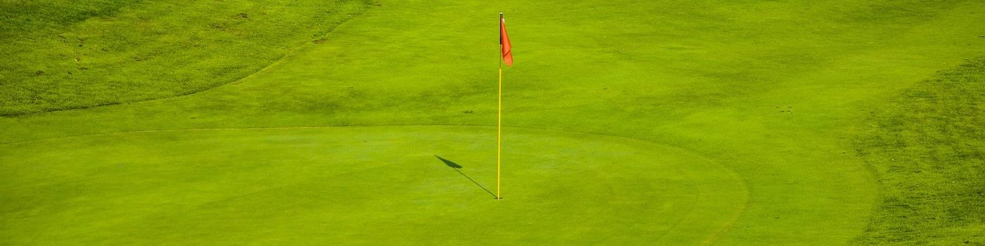 Golf hole with flagpole.