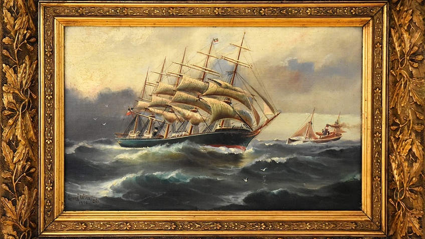 """Das Foto zeigt Georg Andreas Wilkings Gemälde der Fünfmastbark """"R. C. RICKMERS"""" aus dem Jahr 1906"""