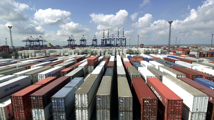 Containers are arranged in rows next to each other.
