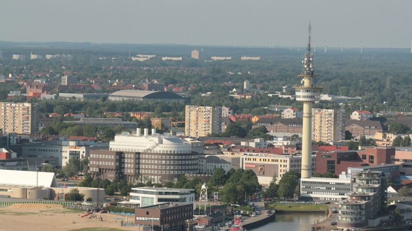 Aerial view of the seaside town of Bremerhaven with a view of the Alfred Wegener Institute.