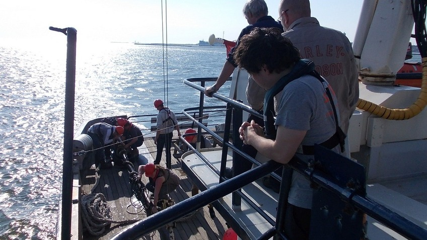 Students on board R/V OCTANS off the frisian coast/NL