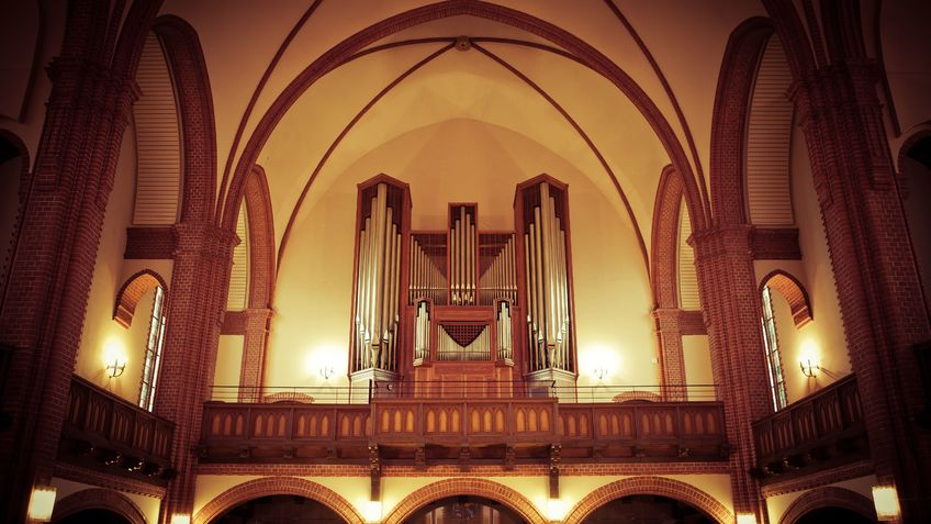 An organ in a church.