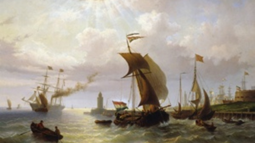 Historical image with ships.