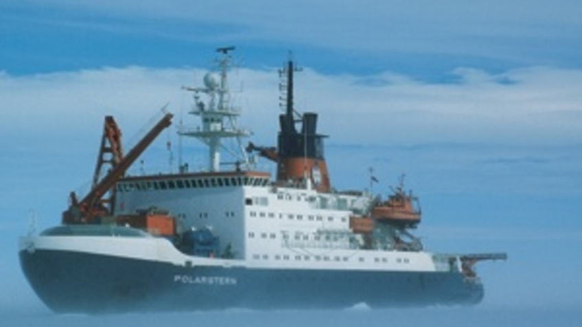 A research vessel in the Antarctic.