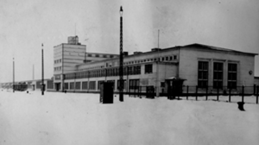 Photo of a building in winter.