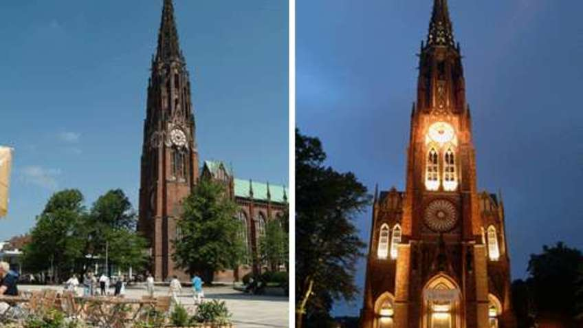 Day and night view of a church.