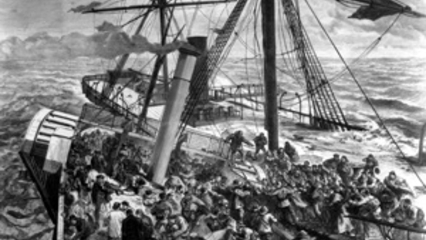 Historical image with a ship.
