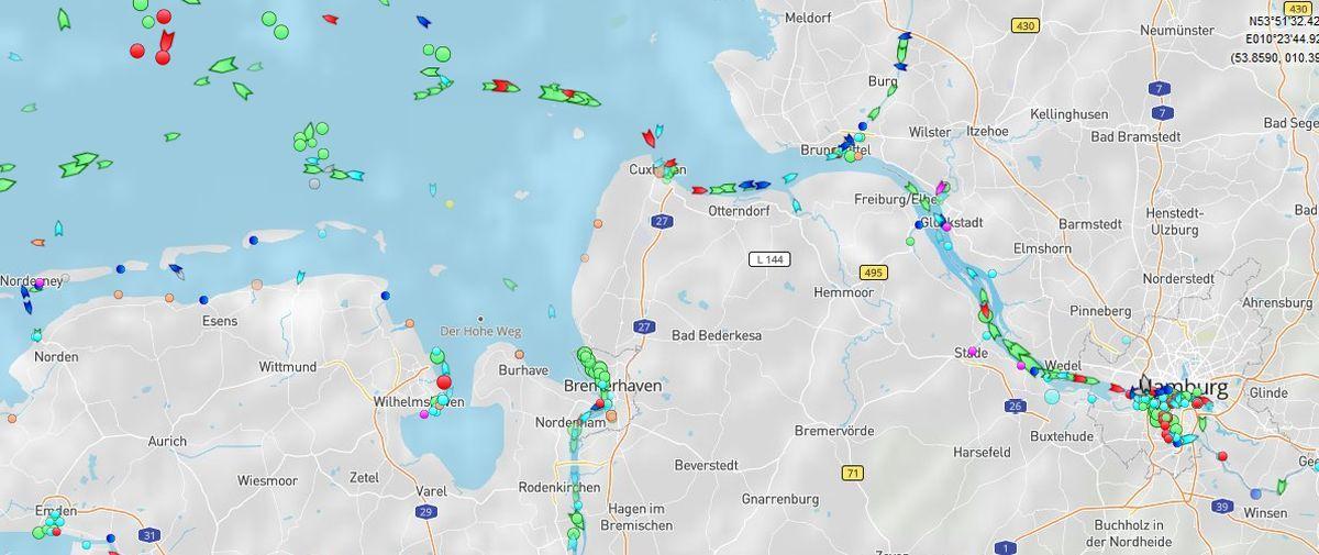 Ship position in realtime Bremerhavende
