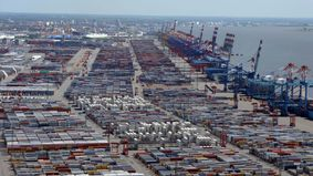 Aerial view from a container terminal.