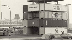 Black and white photograph of a container tower.