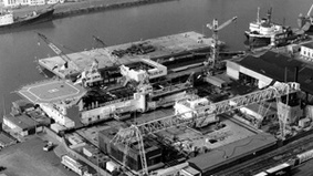 Aerial view of a shipyard.