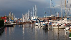 View of a marina.