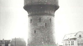Historical image of a water tower.
