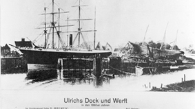 Historical image of a shipyard.