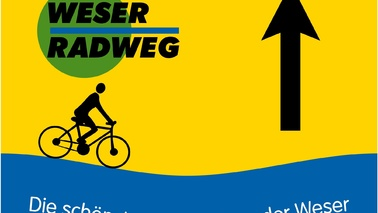 Rectangle sign in yellow and blue with a cyclist and inscription.