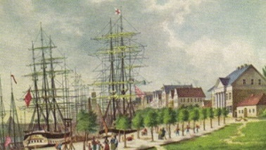 Historical image of a city.