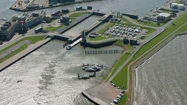 Aerial view of a lock.