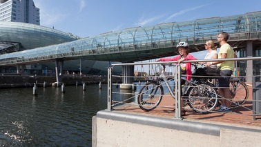 A family standing with bicycles and looking at a dock.