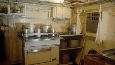 A galley on a ship.