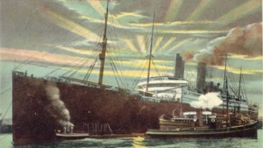 A drawing of a steamer.