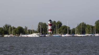 A marina with lighthouse.