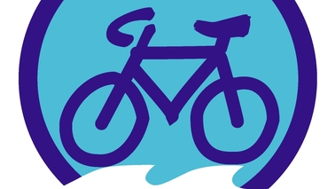 A dark blue bicycle on a light blue background.