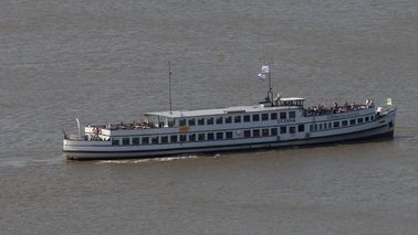 A passenger ship with guests.