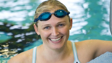 Young woman with swimming goggles.